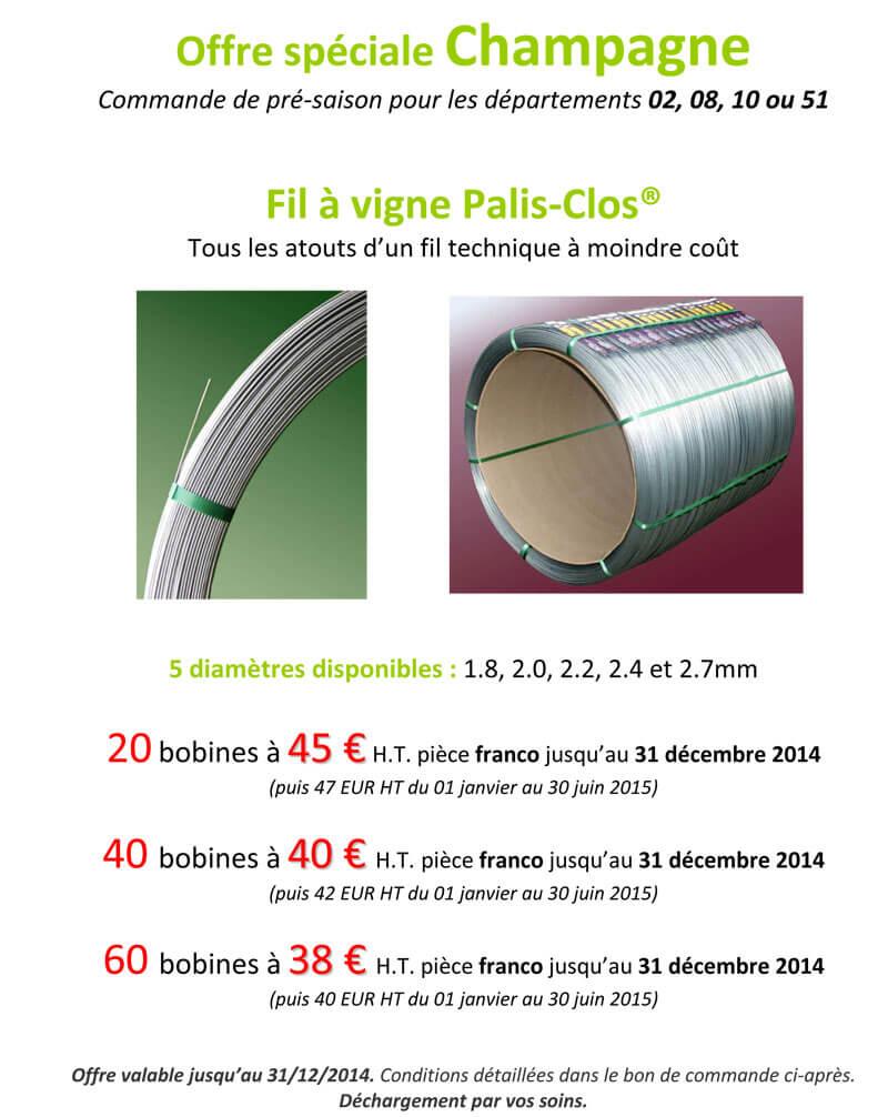 Offre Champagne Palis Clos 2014