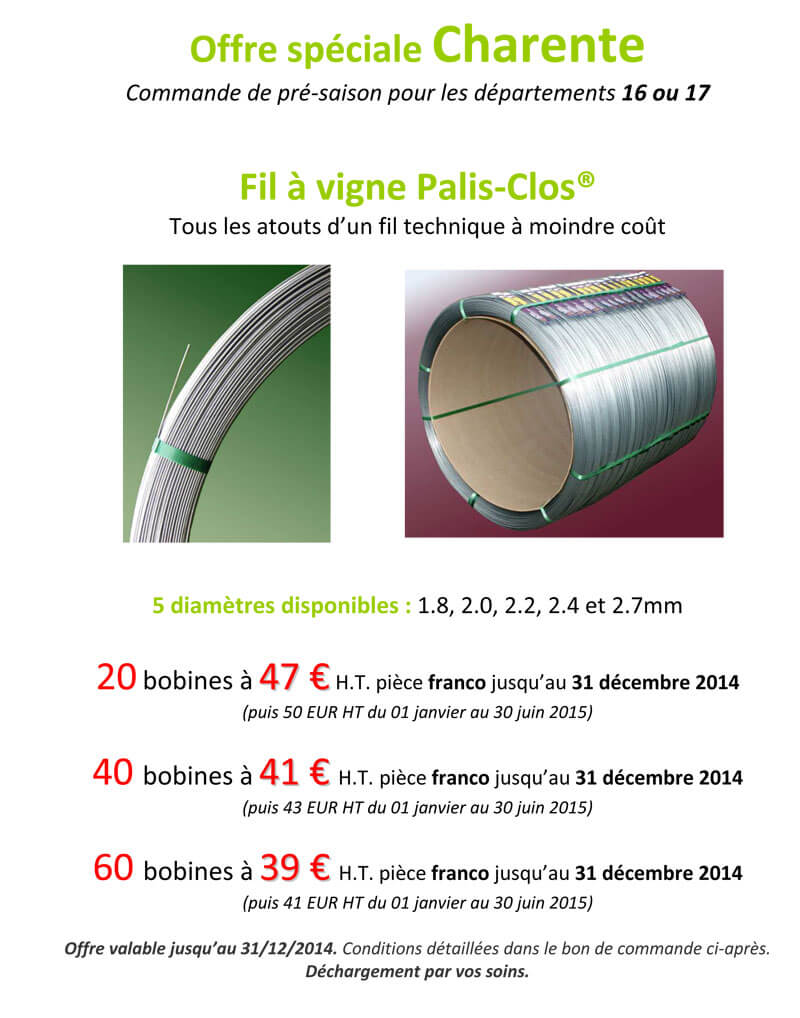 Offre Charentes Palis Clos 2014